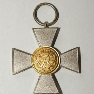 Пруссия.Крест за 20 лет выслуги.Серебро.Таблетка золото.Супер