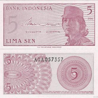 Индонезия 5 сен 1964 UNC Пресс