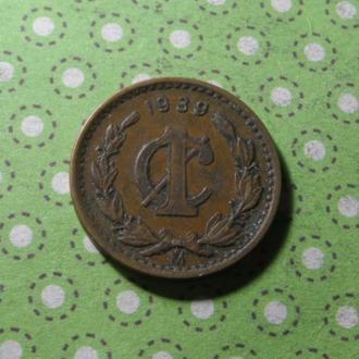 Мексика 1939 год монета 1 сентаво !