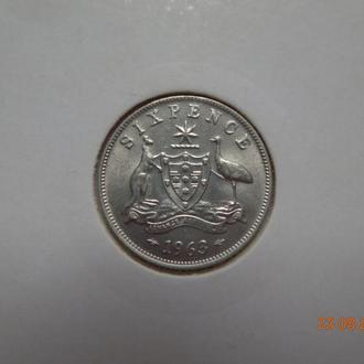 Австралия 6 пенсов 1963 Elizabeth II серебро СУПЕР состояние редкая