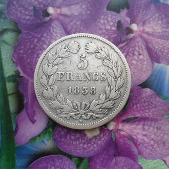 Франция 5франков 1838г