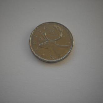 Канада. Квотер. 25 центів. Фауна. Великий північний олень. 1988 рік. Нечаста монета. Недорого.