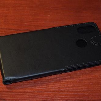 чехол нижний флип для Xiaomi Mi Max 3 черная кожа