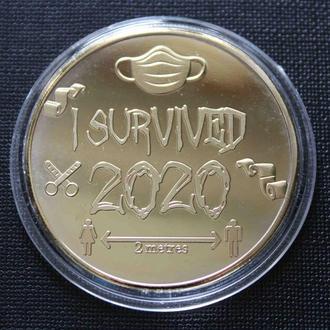 Монета Ковид 2020. Сувенирная монета I Survived (gold) копия