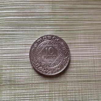 Марокко 10 франков 1352 г .Серебро.
