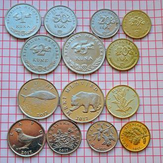 Хорватия, набор современных монет - 7 шт 2011-2019