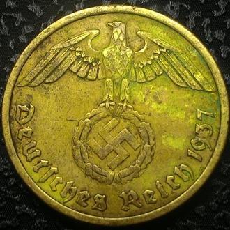 Третий Рейх 10 пфеннигов 1937 A  СВАСТИКА!!