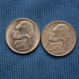 США 5 центов  1996 г   P D   2шт