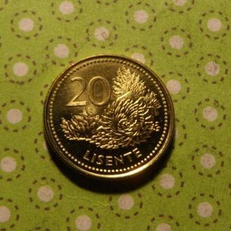 Лесото монета 20 лисенте 1998 год !