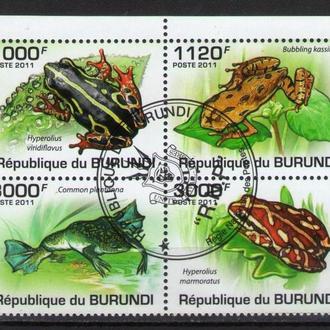 Бурунди 2011 Фауна Земноводные Лягушки Жабы сцепка кварт 9,7евро
