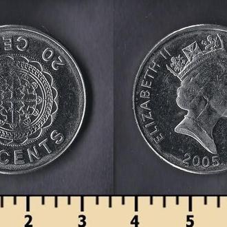 Соломоновы оcтрова 20 центов 2005