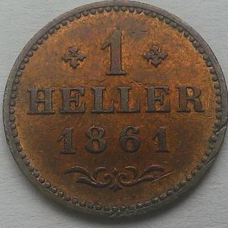 Франкфурт, 1 геллер 1861 год СОСТОЯНИЕ!! РЕДКАЯ!