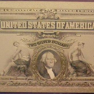 Золотая банкнота 2 доллара 1899 года США, копия