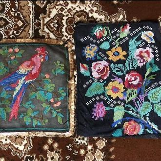 вишита картина 2 шт попугай і квіти (№597)
