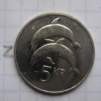ИСЛАНДИЯ. 5 крон 2008 года (ДЕЛЬФИНЫ).