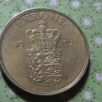 Дания 1957 год монета 1 крона !