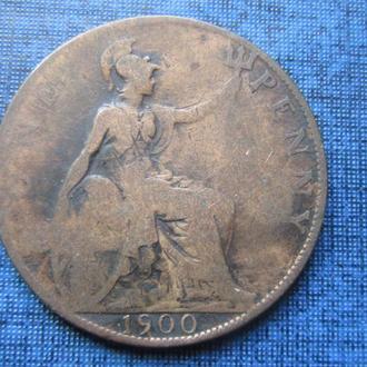 Монета 1 пенни Великобритания 1900 Виктория старая