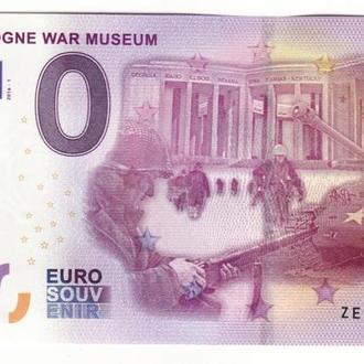 0 евро 2016 музей войны с голограммой, вод. знаками, рельефной печатью, ныряющей лентой, УФ!