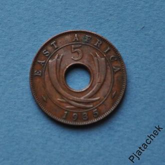 Британская Восточная Африка 5 центов 1935 г.  №1