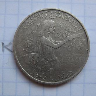 ТУНИС. 1 динар 1976 года (ПОРТРЕТ).