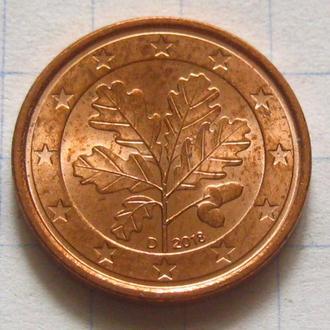 Германия_ 1 евро цент 2018 D оригинал
