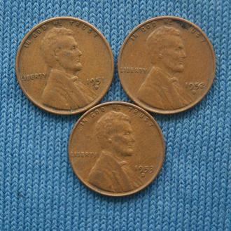 США  погодовка 1 цент  1951  1952  1953 г  D