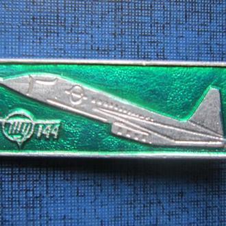 Значок самолёт ТУ-144 зелёный