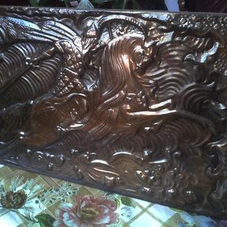 Чеканка картина металл СССР воин на коне
