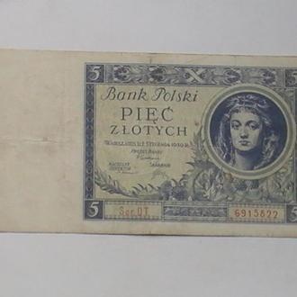 5 Злотых 1930 г Польша 5 Злотих 1930 р Польща