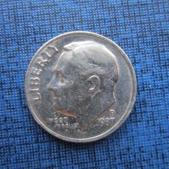 монета 10 центов дайм США 1987 Р