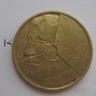 БЕЛЬГИЯ. 5 франков 1986 г.