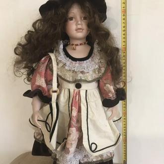 Фарфоровая кукла лялька 55 см клеймо в ромбе NJSF Красивая девочка