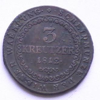 3 Крейцера 1812 р S Австрія 3 Крейцера 1812 г S Австрия