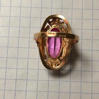 Кольцо золотое с александритом СССР 873 проба