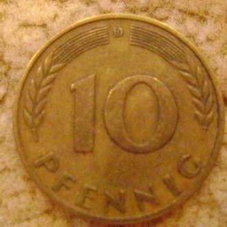 10пфенінгів D ФРН 1950р