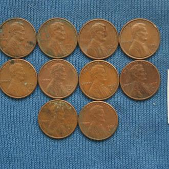 США  погодовка 1 цент  1970  - 1979 г  D  № 9