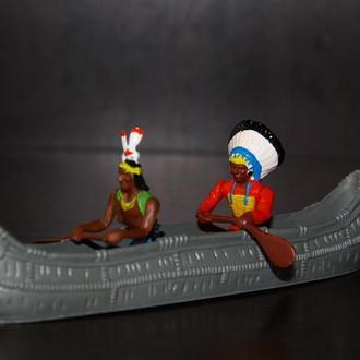 индейцы BRITAINS 54мм с каноэ