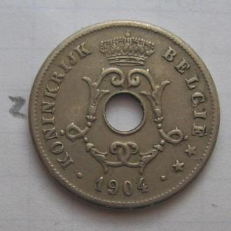 БЕЛЬГИЯ, 10 сантимов 1904 г.