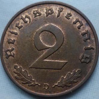 Германия 2 пфеннига 1938 D