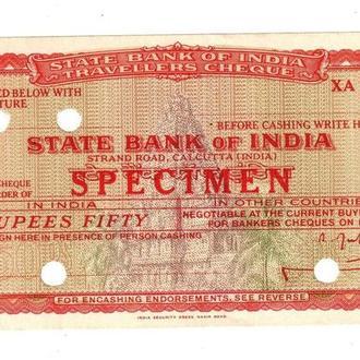Дорожный Чек Индия 50 рупии Образец