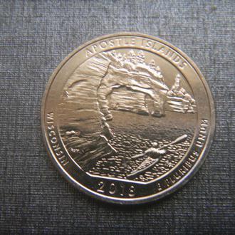США 25 центов Национальные озёрные побережья островов Апостол (S) 2018