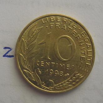 ФРАНЦИЯ, 10 сантимов 1998 года.