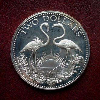 """Багамы """" Фламинго """" 2 Доллара 1974 год.Серебро.Идеальное Состояние."""