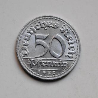 Германия 50 пфеннигов 1921 г. D, XF
