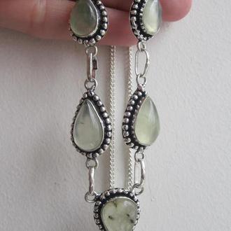 серебряное колье природный пренит, ожерелье пренит