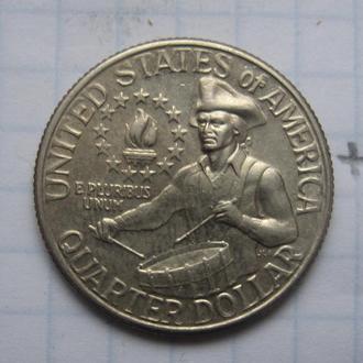 США 25 центов 1976 г. (БАРАБАНЩИК).