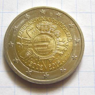Германия_ 2 евро 2012  A 10 лет наличному Евро