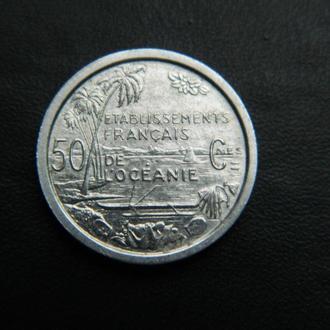 Французская Океания 50 центов 1949г. ОЧЕНЬ РЕДКАЯ!!!