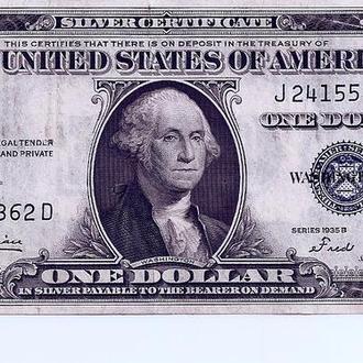 $1 доллар США  1935-B  Silver Certificate AU 5362 D (140)