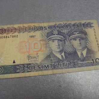 банкнота 10 лит 1997 год литва